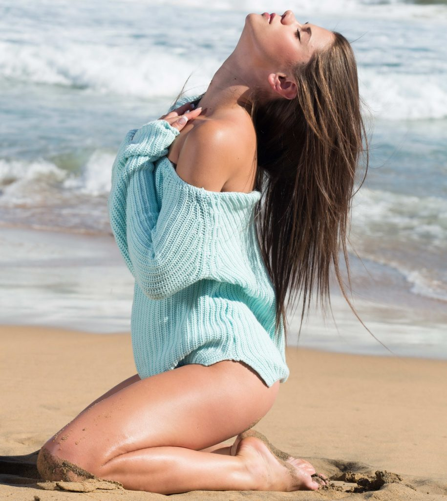 Sexy Teen Brunette Party Girl On The Beach
